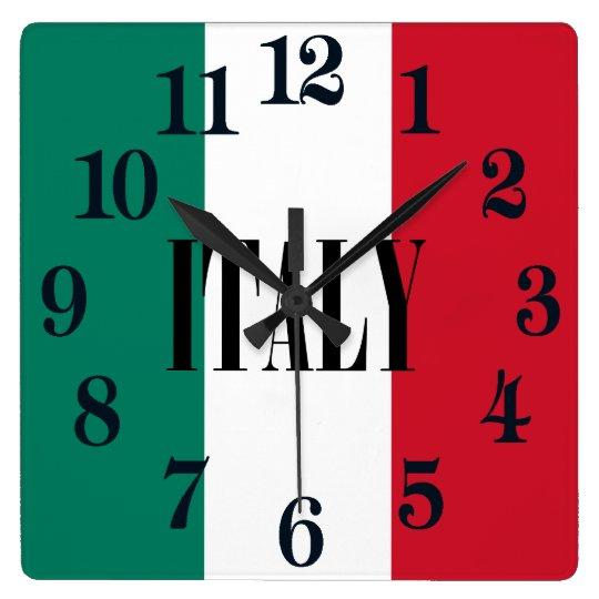 Bandera de Italia Reloj Cuadrado