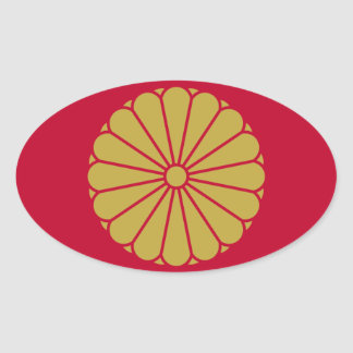 Bandera de Japón Sessyo Pegatina Ovalada
