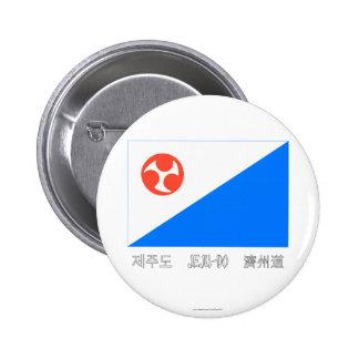 Bandera de Jeju-Do con nombre Chapa Redonda 5 Cm