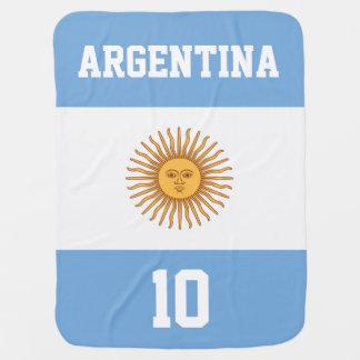 Bandera de la Argentina con su nombre y número del Mantitas Para Bebé