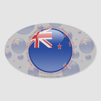 Bandera de la burbuja de Nueva Zelanda Pegatinas De Ovaladas