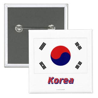 Bandera de la Corea del Sur con nombre Pin