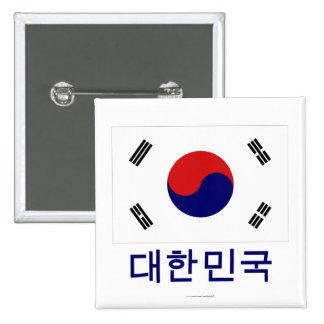 Bandera de la Corea del Sur con nombre en coreano Chapa Cuadrada