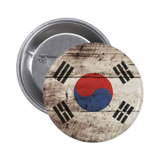 Bandera de la Corea del Sur en grano de madera Chapa Redonda De 5 Cm