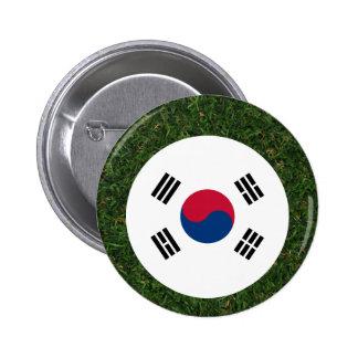 Bandera de la Corea del Sur en hierba Chapa Redonda 5 Cm