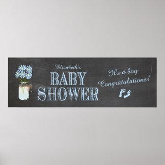 Bandera de la fiesta de bienvenida al bebé póster