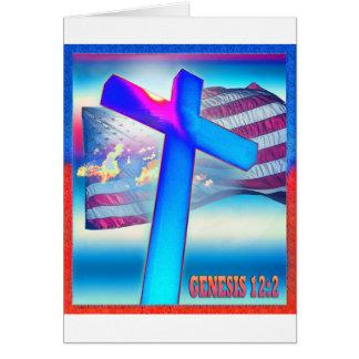 Bandera de la génesis tarjeta de felicitación