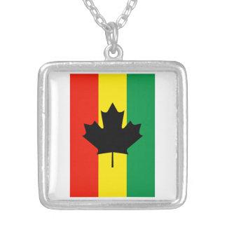 Bandera de la hoja de arce del reggae de Rasta Colgante Cuadrado