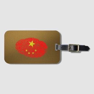 Bandera de la huella dactilar del tacto del chino etiqueta para maletas