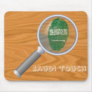 Bandera de la huella dactilar del tacto del saudí alfombrilla de ratón