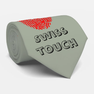 Bandera de la huella dactilar del tacto del suizo corbatas