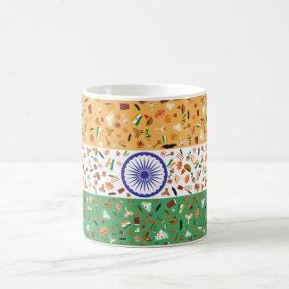 Bandera de la India con los artículos culturales Taza De Café