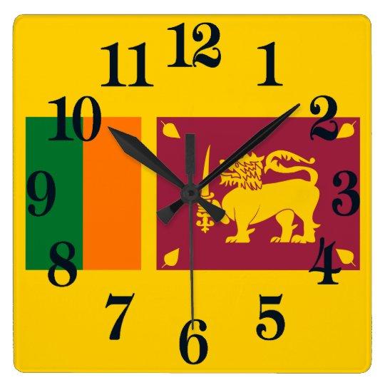 Bandera de la isla de Sri Lanka Reloj Cuadrado