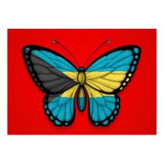 Bandera de la mariposa de Bahamas en rojo Tarjeta Personal