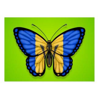 Bandera de la mariposa de Barbados en verde Tarjetas De Visita