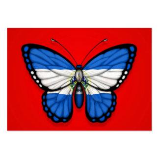 Bandera de la mariposa de El Salvador en rojo Tarjetas De Visita Grandes