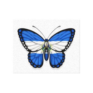 Bandera de la mariposa de El Salvador Lona Envuelta Para Galerias