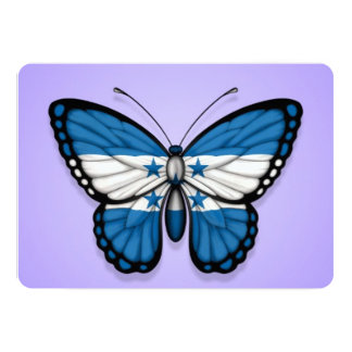 Bandera de la mariposa de Honduras en púrpura Invitación 12,7 X 17,8 Cm