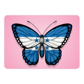 Bandera de la mariposa de Honduras en rosa Invitación 12,7 X 17,8 Cm