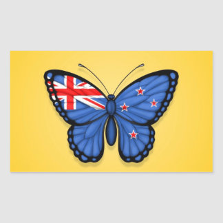 Bandera de la mariposa de Nueva Zelanda en amarill Rectangular Pegatina