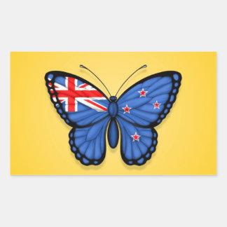 Bandera de la mariposa de Nueva Zelanda en Rectangular Pegatinas