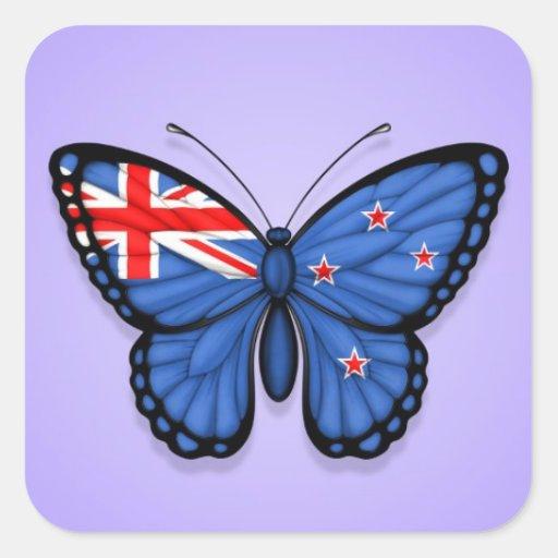 Bandera de la mariposa de Nueva Zelanda en púrpura Pegatina Cuadradas Personalizadas
