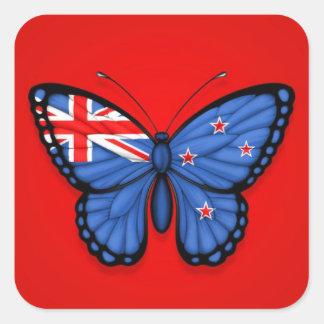 Bandera de la mariposa de Nueva Zelanda en rojo Colcomania Cuadrada