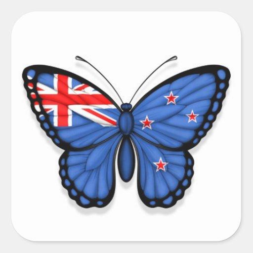 Bandera de la mariposa de Nueva Zelanda Calcomanía Cuadradas Personalizadas