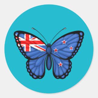 Bandera de la mariposa de Nueva Zelanda Etiqueta Redonda