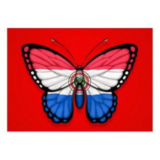 Bandera de la mariposa de Paraguay en rojo Tarjeta De Visita