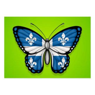 Bandera de la mariposa de Quebec en verde Tarjeta De Visita