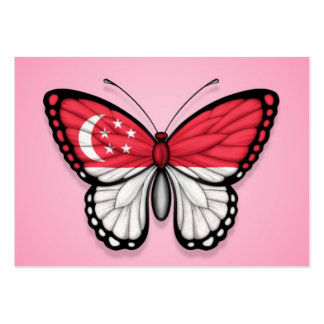 Bandera de la mariposa de Singapur en rosa Tarjetas Personales
