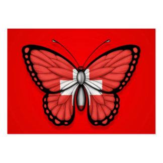 Bandera de la mariposa de Suiza en rojo Tarjeta De Visita