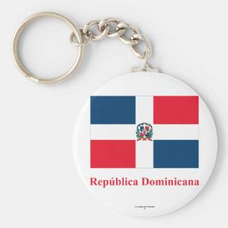 Bandera de la República Dominicana con nombre en Llavero Redondo Tipo Chapa
