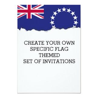 Bandera de las islas de cocinero invitación 12,7 x 17,8 cm