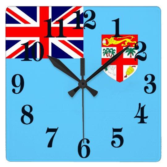 Bandera de las Islas Fiji Reloj Cuadrado