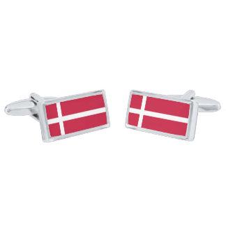 Bandera de las mancuernas de Dinamarca Gemelos Plateados