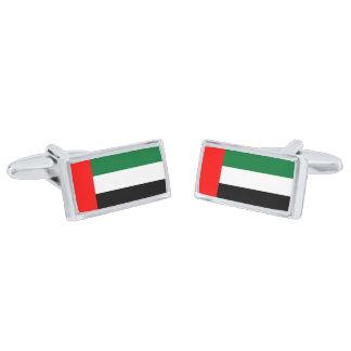 Bandera de las mancuernas de los emiratos gemelos plateados