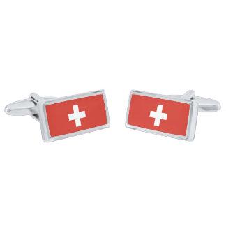 Bandera de las mancuernas de Suiza Gemelos Plateados