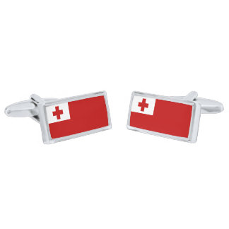 Bandera de las mancuernas de Tonga Gemelos Plateados