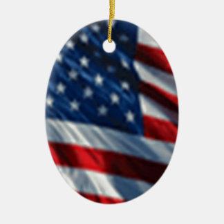 Bandera de los E.E.U.U. Adorno Ovalado De Cerámica