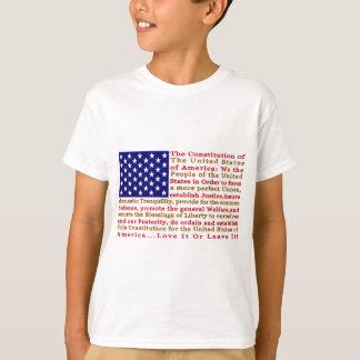 Bandera de los E.E.U.U. americanos con palabras la Camiseta