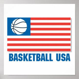 bandera de los E.E.U.U. del baloncesto Póster