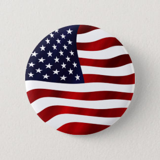 Bandera de los E.E.U.U. que agita Chapa Redonda De 5 Cm
