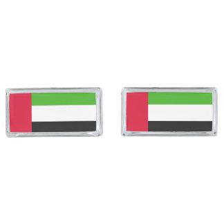 Bandera de los UAE United Arab Emirates Gemelos Plateados