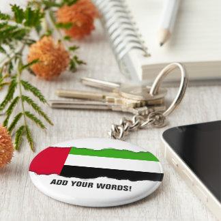 Bandera de los UAE United Arab Emirates Llavero Redondo Tipo Chapa