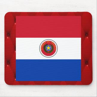 Bandera de lujo de Paraguay en fondo rojo del Alfombrilla De Ratón