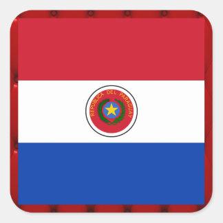 Bandera de lujo de Paraguay en fondo rojo del Pegatina Cuadrada
