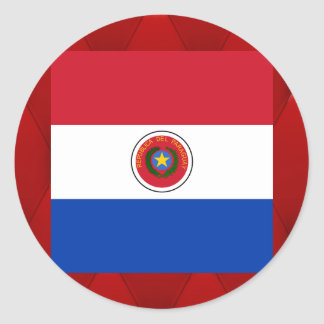 Bandera de lujo de Paraguay en fondo rojo del Pegatina Redonda
