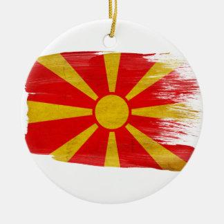 Bandera de Macedonia Adorno Navideño Redondo De Cerámica